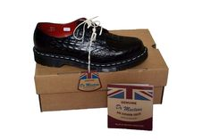 Dr Martens Black Leather Crocodile Shoes, Made in England, rrp £250, UK 8, BNIB #DrMartens #Laceup