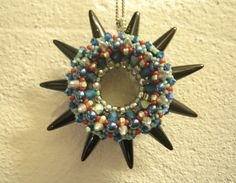 Week 6: Pin Wheel Pendant, designed by Sabine Lippert. I did it! (Beadwork Oct/Nov 2013)