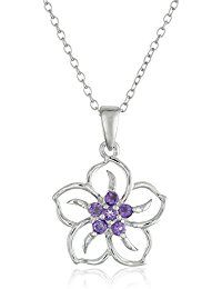 Sterling Silver Gemstone Flower Pendant Necklace *** Check out this great product.