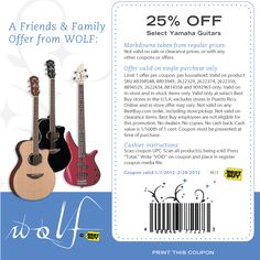 25% off guitars at Best Buy
