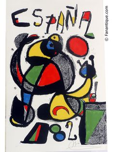 Original Poster Spain Joan Miro Painting Football World Cup Copa Futbol 1982 Spanish Painters, Spanish Artists, Joan Miro Pinturas, Contemporary Art Gallery, Modern Art, Joan Miro Paintings, Pablo Picasso, Art Plastique, Printmaking