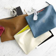 Everyday Leather Zip Pouch | Mark and Graham | so great for holding your everyday essentials!