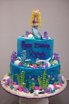Rolled fondant mermaid birthday cake.