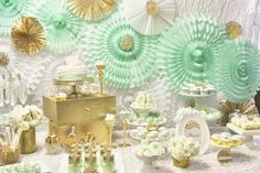 Gorgeous mint and gold party / dessert table #goldparty #mintandgold #desserttable