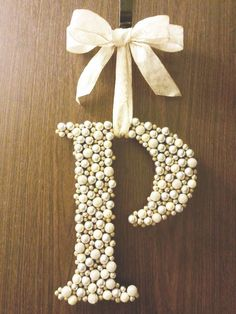 Letter 'wreath' made by gluing Christmas berries from the craft store to a wood letter. by &Den Concept Craft Gifts, Diy Gifts, Letter Wreath, Christmas Berries, Christmas Decor, Christmas Tree, Floral Letters, Letter A Crafts, Wood Letters