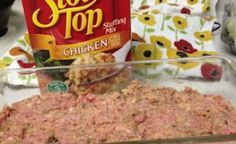 Meatloaf with a secret ingredient! Even better, top it w/ BBQ sauce and its to die for!1 Pound Ground Meat (Beef or Turkey) 1 Egg 1 Box Stuffing Mix 1 Cup Water. My husband is going to LOVE this!!