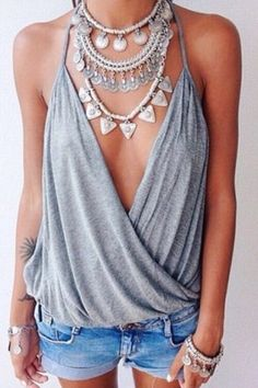 Sexy Spaghetti Strap Solid Color Low Cut Women's Tank Top