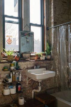 """10 """"Exposed Brick Tiles"""" Bathroom Design Ideas - Home: Living color Home Design, Design Ideas, Brick Tiles Bathroom, Dream Apartment, New York Studio Apartment, Loft Apartment Decorating, Warehouse Apartment, New York Apartments, Brooklyn Apartment"""
