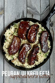 Peuran ulkofilee noisetit & Suppilovahverorisotto Risotto, Sausage, Appetizers, Tasty, Beef, Recipes, Food, Amp, Meat