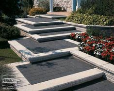 Browse the : Home page from Permacon, the specialist in landscaping and masonry! Front Door Landscaping, Landscaping With Boulders, Backyard Landscaping, House Landscape, Landscape Design, Garden Design, Paving Design, Outdoor Steps, Garden Stairs