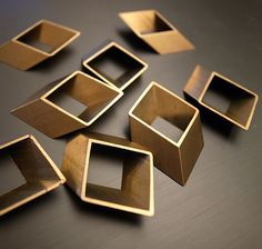 6 pieces of vintage old stock cut raw brass tube outline charm in rhombus  3d square geometric shape. $5.00, via Etsy.