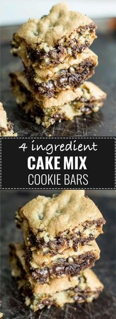 4 ingredient cake mix cookie bars - these are always a hit! 4 ingredient cake mix cookie bars – these are always a hit! 4 ingredient cake mix cookie bars – these are always a hit! Cake Mix Desserts, Cake Mix Cookie Recipes, Easy To Make Desserts, Köstliche Desserts, Recipes Using Cake Mix, Cake Mix Blondies Recipe, Recipe With Cake Mix, Brownie Mix Recipes, Easy Cakes To Make