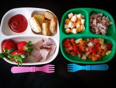 Dinner two ways: Left (6 year old) - ketchup/ roasted white potatoes/ strawberries  herb crusted pork.  Right (17 month old) - cheese/ herb crusted pork/ triple roasted potatoes (white red sweet) red onion red bell pepper and carrot.  @replayrecycled #bigbossledweaning #bigbossbites #blw #babyledweaning #blwideas #blwmeals #17months #1yearold #Eeeeats #toddlerbites #toddlerfood #rainbowoffoods #homemadefood #familymealideas #yum #yumr #yummy #replayrecycled #replaymeals #recycled #replaykids…