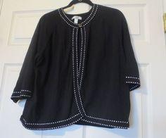 DRESSBARN Women's Cardigan Jacket Top One Button Black White Stitch Sz 18/20 #dressbarn #BasicJacket
