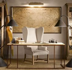 map, chair...minimalist office space. LOVE