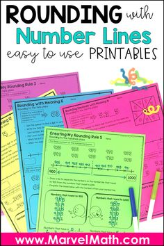 This set of rounding activities and worksheets will help student round whol Rounding Rules, Rounding Activities, Rounding Whole Numbers, Rounding Decimals, Subtraction Activities, Math Place Value, Place Values, Teaching Numbers, Teaching Math
