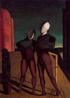 The duo (The models of the red tower), 1915 by Giorgio de Chirico. Museum of Modern Art (MoMA), New York City, NY, US Max Ernst, Italian Painters, Italian Artist, Norman Rockwell, Art Ancien, Rene Magritte, Impressionist Art, Painting Gallery, Traditional Paintings
