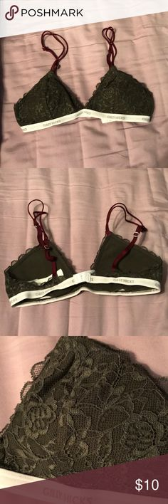Gilly Hicks bralette Like new Gilly Hicks lace bralette. Beautiful army green and burgundy. Lace all fully in tact. Removable cups. Gilly Hicks Intimates & Sleepwear
