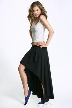 Jupe sportswear asymétrique, noire
