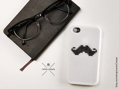 Moustache cross stitch case for iPhone 4 and iPhone by me :)