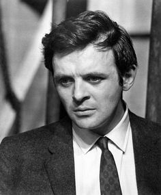 Young Anthony Hopkins in a Gray Sports Coat and Tie