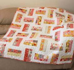 Modern Lap Quilt or Sofa Throw in Moda by QuiltSewPieceful on Etsy, $195.00