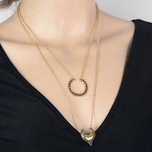 Retro A Più Strati Della Collana Argento Antico Metallo Oro Intagliato Falce di…
