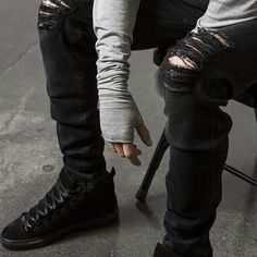 14.47$  Watch now - Men's Ripped Biker Jeans Hot New Male Destroyed Swag Joggers Straight Slim Fit Black Denim Pants Motorcycle Skinny Trousers  #buychinaproducts