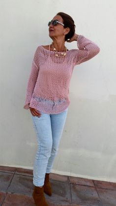Cotton knit sweater, summer loose knit, women knit sweater, rose quartz sweater…