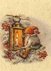 Gnome lighting festive candle...