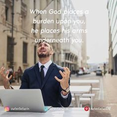 When God places a burden upon you he places his arms underneath you. #Life #LifeQuotes #LifeStatus #God #Burden #Help Positive Quotes For Life, Good Life Quotes, Positive Thoughts, Cute Statuses, Life Status, This Is Us Quotes, Successful People, New Beginnings, Be Yourself Quotes