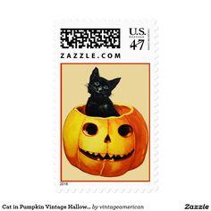 Cat in Pumpkin Vintage Halloween Postage Stamps