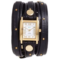 La Mer Collections Studded Leather Wrap Watch, 19mm ($98) ❤ liked on Polyvore featuring jewelry, watches, accessories, la mer jewelry, polka dot jewelry, la mer watches, studded wrap watch and leather strap watches