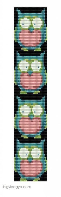 Bead Weaving Pattern for a bracelet or necklace. The owls are so cute!