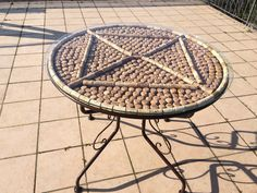 Table made with champagne and wine corks - homemade