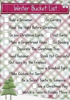 Winter Bucket list. Free printable! Email for the pdf file so you can customize it!