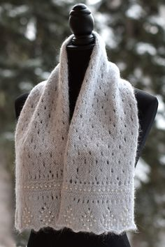 Free until December 2018 Knitting Pattern for Ma Chérie Scarf - Beads, eyelets and lightly pointed edges make the beautiful diamond patterning in this lace scarf. Designed by Mary Ann Byrd. Shawl Patterns, Knitting Patterns Free, Free Knitting, Knitted Shawls, Knitted Blankets, Knit Scarves, Scarfs, Hand Knit Scarf, Lace Scarf