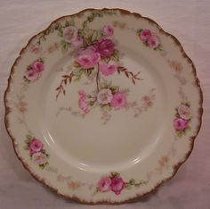 Vintage Set of Five Limoges Plates Hand Painted Roses