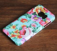 Turquoise Floral Samsung Galaxy S7 Edge/S7/S6 Edge Plus/S6 Edge/S6/S5/S4/Note 5/Note 4/Note 3 Case 975 - Acyc - 1
