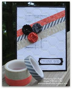 washi embossing: Stamp and Sew For Fun - Stampin' Up! Epic Day This And That Designer Washi Tape Card. Washi Tape Uses, Washi Tape Cards, Masking Tape, Cool Cards, Diy Cards, Hexagon Cards, Embossed Cards, Creative Cards, Tutorial