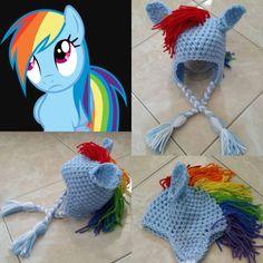 9afe317a648 Crochet Rainbow Dash Beane Hat (My Little Pony) Crochet Pony