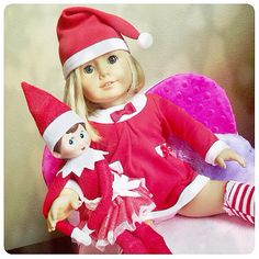 Elf on the shelf idea: dress American Girl doll up in matching outfit! Twinsies!