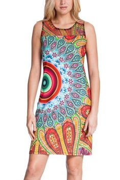 Desigual women's Maxins dress. Pinafore dress with a printed tulle upper section that's sheer and creates a very special effect. Have fun! Preview of the new Why