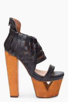 Jeffrey Campbell  Black Woodblock Heels