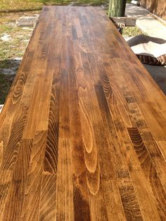 Dark walnut on ikea birch butcher block and sealed with tung oil. Perfect! I ordered the birch countertops from Ikea with this look in mind.