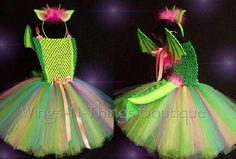 DRAGON DINOSAUR COSTUME 4pc Tutu Set w/ Headband, Tail & Wings, Dino, Dragon Tales, Puff, Petes Dragon, Spike, Toddler, Girls by wingsnthings13. Explore more products on http://wingsnthings13.etsy.com