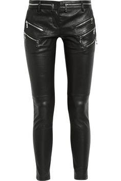 Balmain  Zip-detailed leather skinny pants