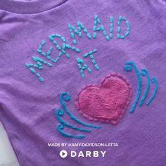 How to Make a DIY T-Shirt #darbysmart #diy #diyprojects #artsandcrafts #diyshirt #fabricpaint #stencil #crafting #craftvids #diyclothing #mermaids