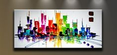 Wieco Art - Oil Painting Abstract Modern Canvas Wall Art Paintings ...