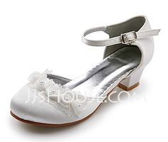 Wedding Shoes - $25.99 - Kids' Satin Low Heel Closed Toe Flats With Satin Flower (047020911) http://jjshouse.com/Kids-Satin-Low-Heel-Closed-Toe-Flats-With-Satin-Flower-047020911-g20911